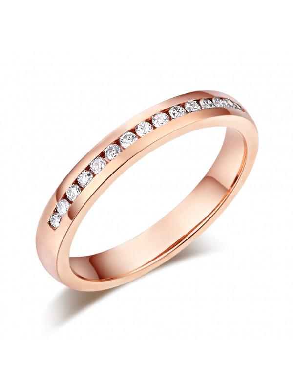 14K Solid Rose Gold Wedding Band Half Eternity Ring 0.17 Ct Diamonds