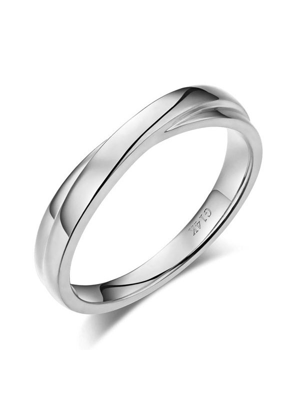 Matching 14K Solid White Gold Men Wedding Band Ring