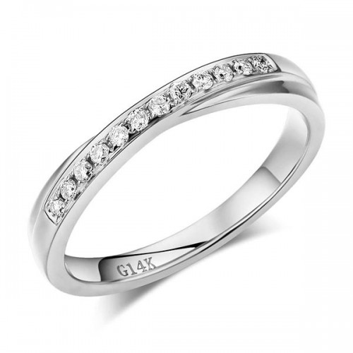 Matching 14K White Gold Women Wedding Band Ring 0.14 Ct Diamonds