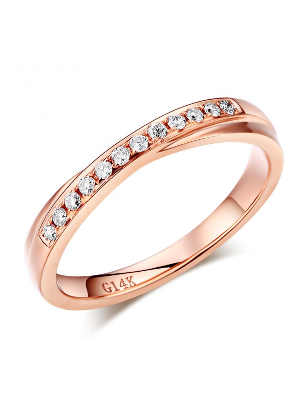 Matching 14K Rose Gold Women Wedding Band Ring 0.14 Ct Diamonds