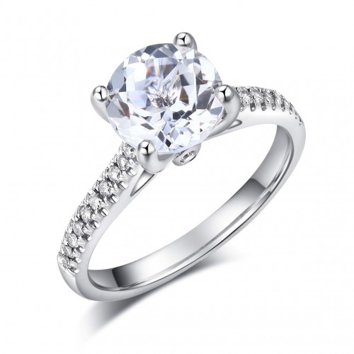 14K White Gold Wedding Engagement Ring 2 Ct Topaz 0.18 Ct Natural Diamonds