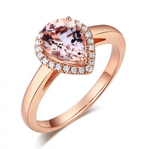 14K Rose Gold Wedding Engagement Ring Peach Color Morganite 0.11 CT Natural Diamonds