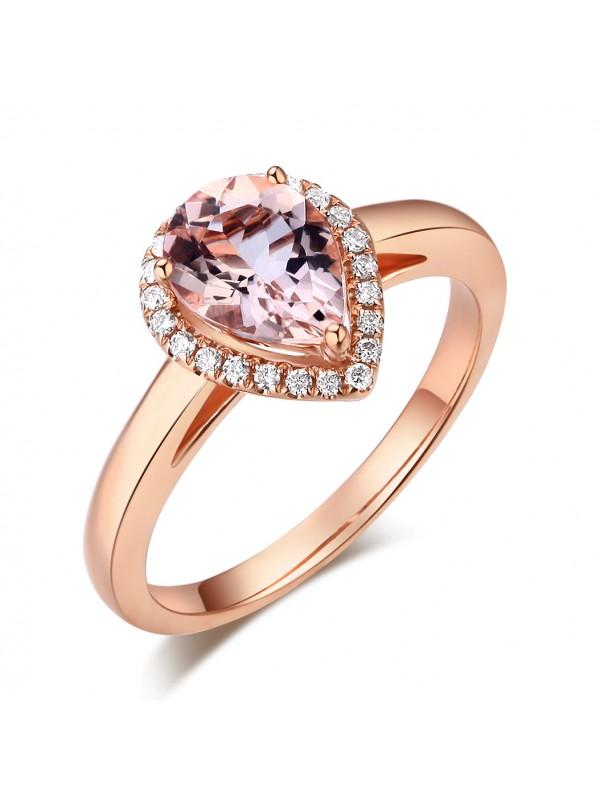 14K Rose Gold Wedding Engagement Ring Peach Color Morganite 0.11 CT Natural Diamonds