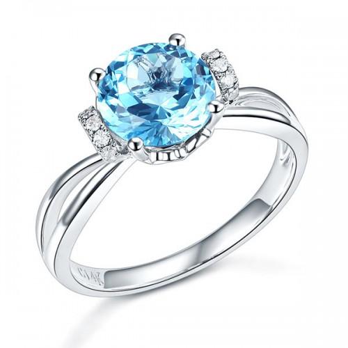 14K White Gold Wedding Promise Ring 2 Ct Swiss Blue Topaz Natural Diamond