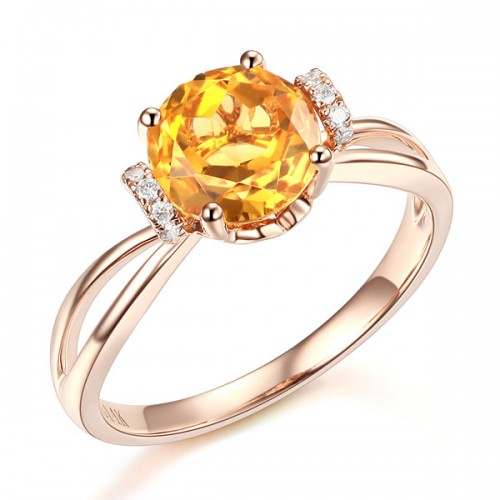 14K Rose Gold Wedding Promise Ring Floral Yellow Citrine Natural Diamond