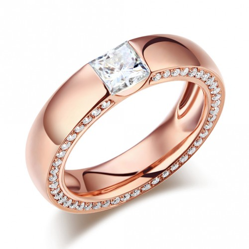 14K Rose Gold 0.6 Carat Moissanite Diamond Wedding Band Ring