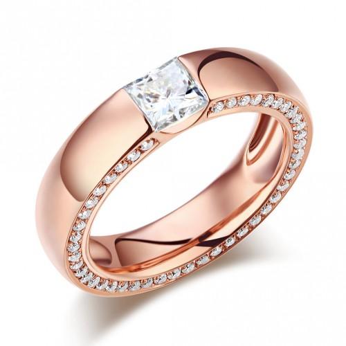 14K Rose Gold 0.6 Carat Moissanite Diamond Wedding Band Ring