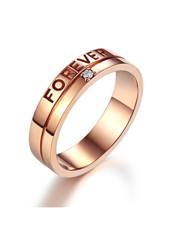 Matching 14K Rose Gold Forever Men Wedding Band Ring 0.02 Ct Diamonds