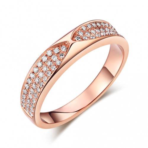 14K Rose Gold Bridal Wedding Anniversary Band Ring 0.31 Ct Natural Diamonds