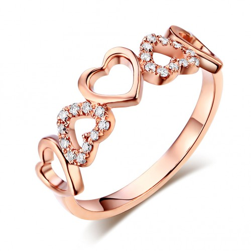 14K Rose Gold Heart Wedding Band Ring 0.12 Ct Natural Diamonds