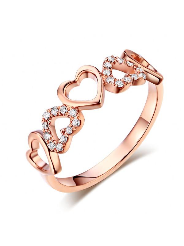 14K Rose Gold Heart Wedding Band Ring 0.12 Ct Natural Diamonds