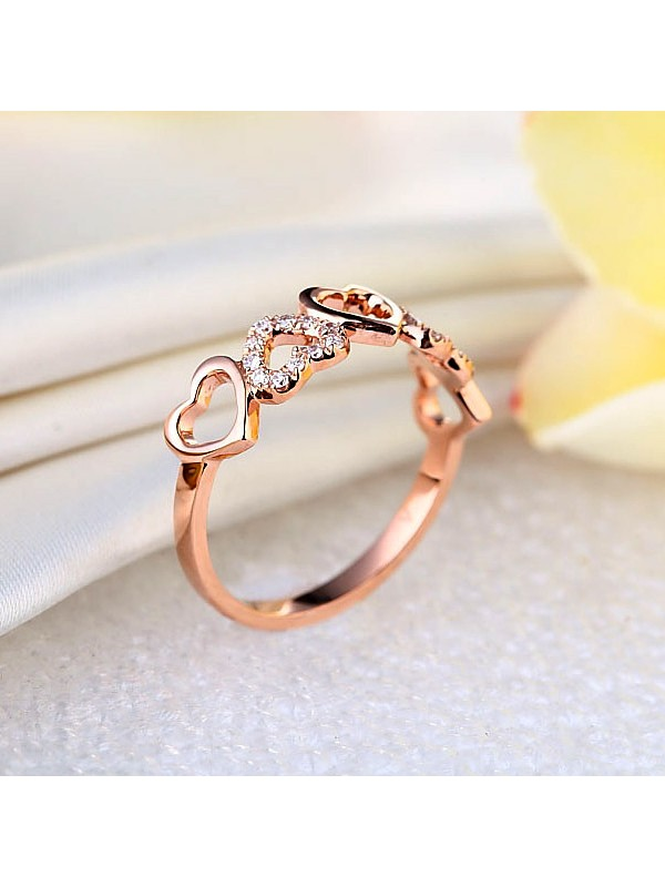 Rose Gold Heart Wedding Band Ring 0 12 Ct Natural Diamonds