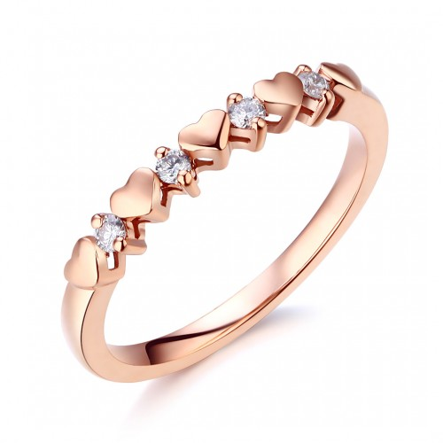 Women Heart 14K Rose Gold Bridal Wedding Band Ring 0.11 Ct Natural Diamonds