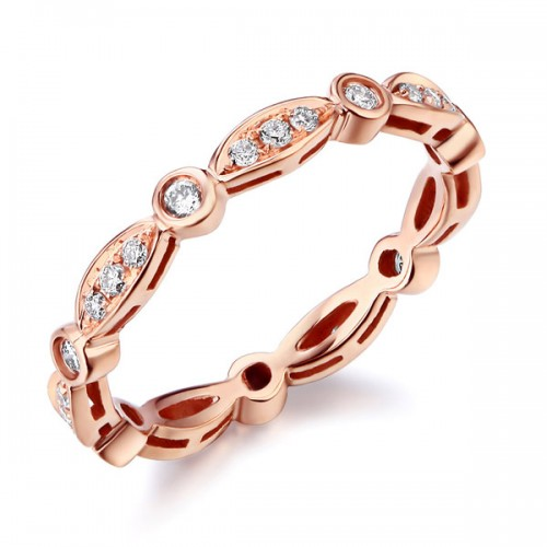 14K Rose Gold Wedding Band Ring 0.3Ct Natural Diamonds Art Deco Vintage Style