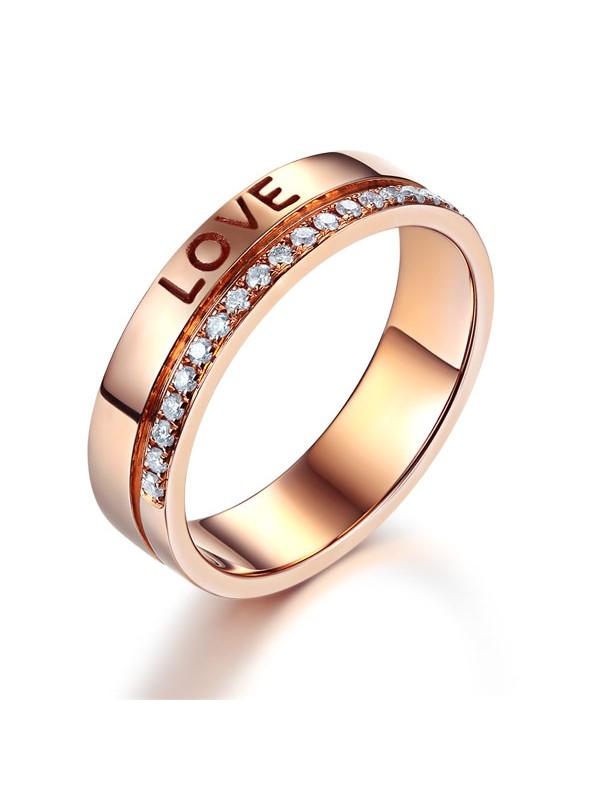 Matching 14K Rose Gold Love Women Wedding Band Ring 0.12 Ct Diamonds