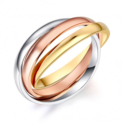 3-Color Multi-Tone 14K Solid White, Rose, Yellow Gold Wedding Band Ring Entwined