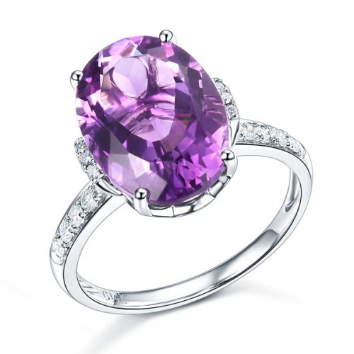 14K White Gold Luxury Ring 5.75 Ct Oval Purple Amethyst  0.22 Ct Natural Diamond