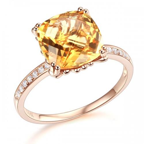 14K Rose Gold Luxury Wedding Anniversary Ring Yellow 3.6 Ct Cushion Citrine Diamond