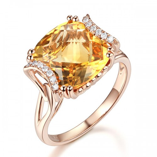 Fine 14K Rose Gold Luxury Anniversary Ring 6 Ct Cushion Yellow Citrine Diamond