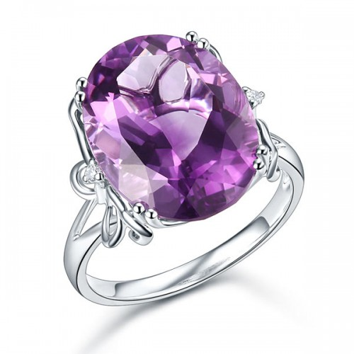 14K White Gold Luxury Anniversary Ring 8.3 Ct Oval Purple Amethyst Diamond