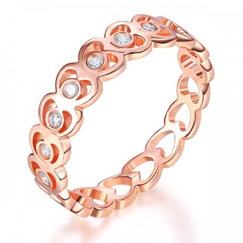 14K Rose Gold Heart Wedding Band Women Ring 0.07 Ct Diamond 585 Fine Jewelry