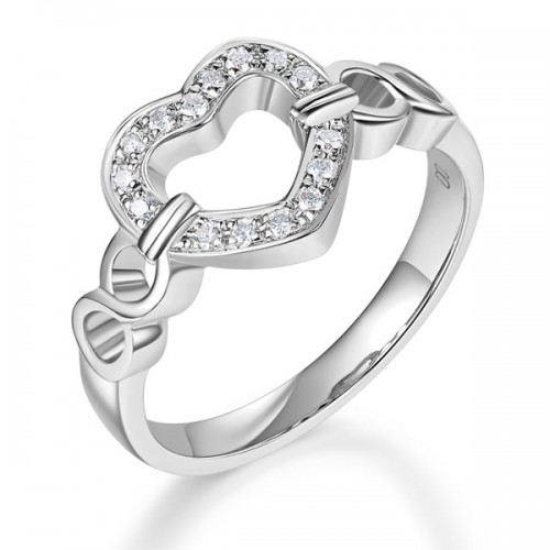 14K White Gold Heart Women Wedding Band Anniversary Promise Ring 0.1 Ct Diamond