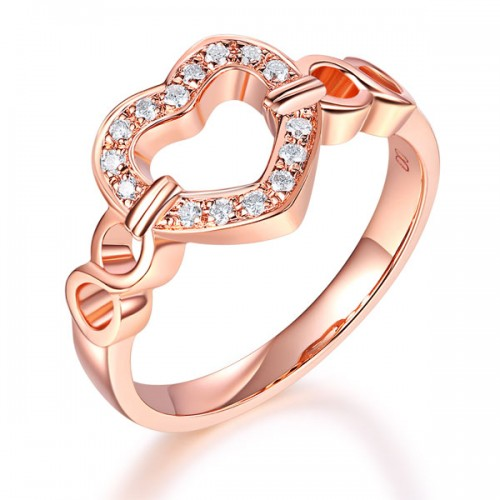 Women 14K Rose Gold Heart Wedding Band Anniversary Promise Ring 0.1 Ct Diamond