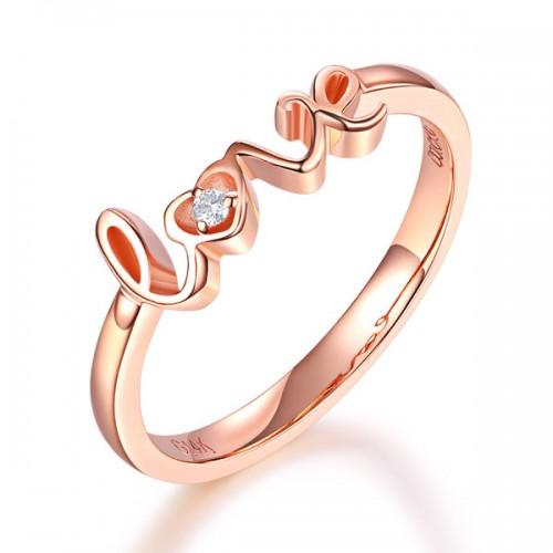 14K Rose Gold 585 Love Wedding Band Anniversary Women Ring 0.01 Ct Diamond