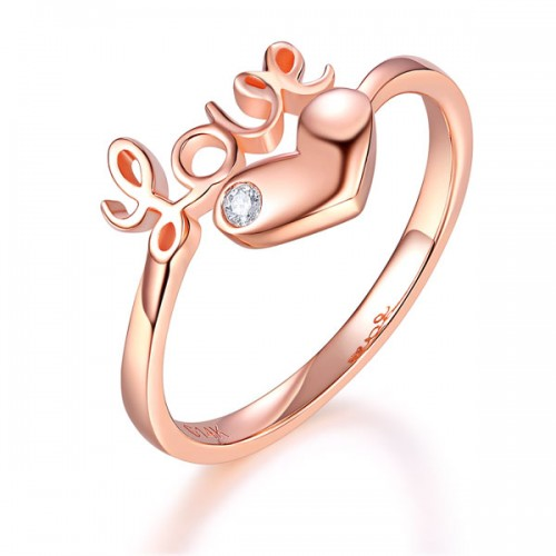 14K Rose Gold Love Wedding Band Heart Ring 0.01 Ct Diamond 585 Fine Jewelry