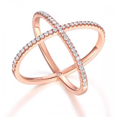 Women 14K Rose Gold Crossover Ring 0.37 Ct Diamond 585 Fine Jewelry