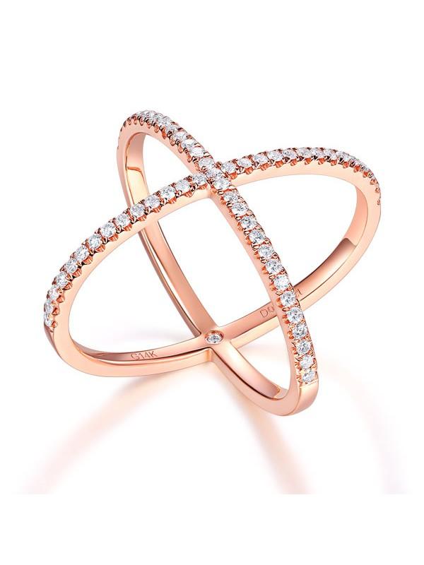 Women 14K Rose Gold Crossover Ring 037 Ct Diamond 585 Fine Jewelry