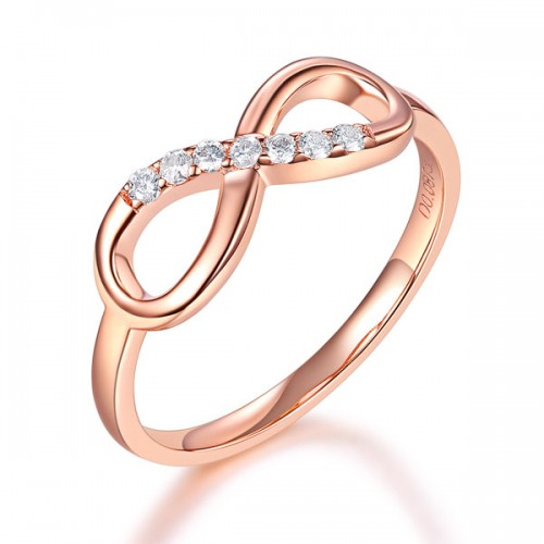 Women 14K Rose Gold Wedding Band Women Ring 0.08 Ct Diamond Affordable Fine