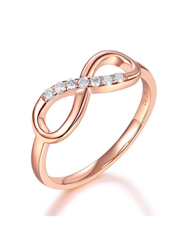 14K Rose Gold Wedding Band Women Ring 008 Ct Diamond Affordable Fine