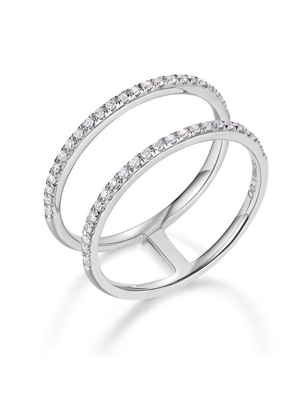 14k white gold wedding ring double band 018 ct diamond solid 585 fine jewelry - Double Band Wedding Ring
