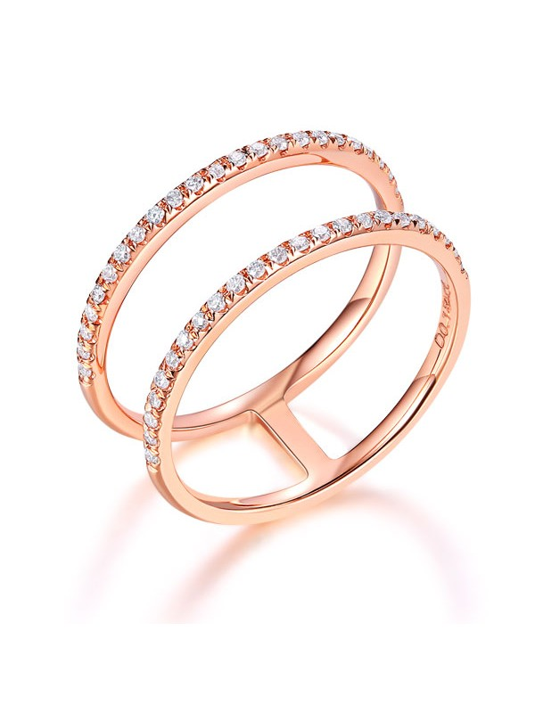 Solid 14K Rose Gold Wedding Ring Double Band 0.18 Ct Diamond 585 Fine Jewelry