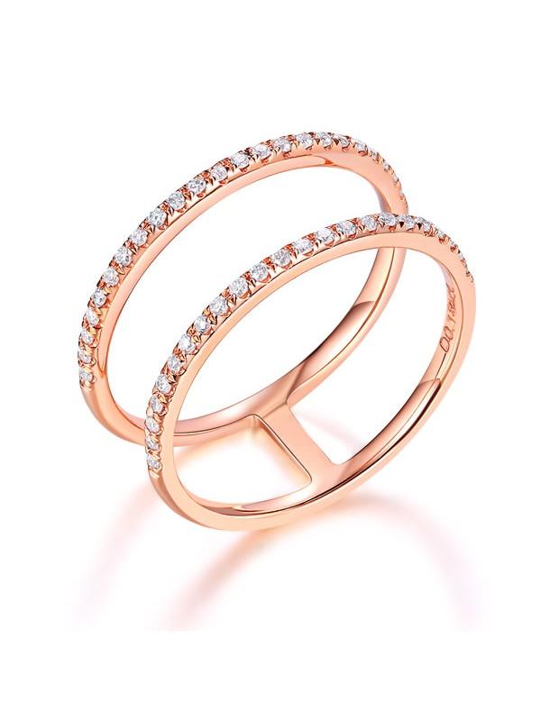 14K Rose Gold Wedding Ring Double Band 0 18 Ct Diamond 585 Fine