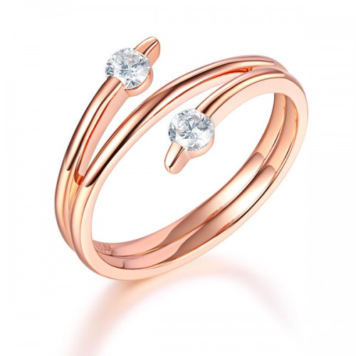 Women 14K Rose Gold Wedding Band Stylish Ring 0.2 Ct Diamond Fine Jewelry
