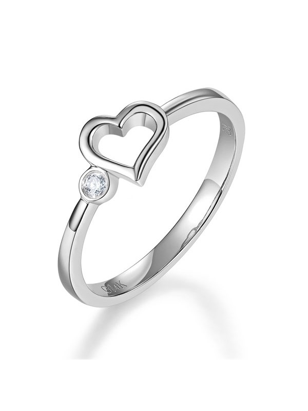 White Gold Heart Wedding Band Bridal Ring 0 02 Ct Diamond 585 Fine