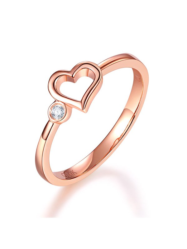 14K Rose Gold Wedding Band Anniversary Heart Bridal Ring 0.02 Ct Diamond