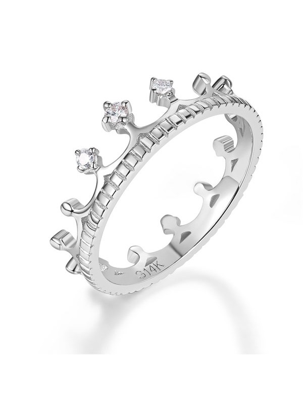 White Gold Wedding Band Princess Crown Ring 004 Ct Diamond Fine Jewelry