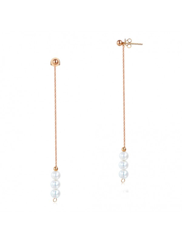 18K/750 Rose Gold Drop Dangle Long Line 3 Pearls Earrings