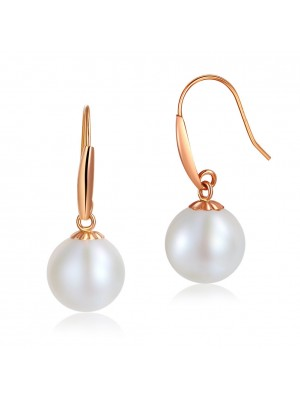 18K/750 Rose Gold Drop Dangle Pearl Earrings 8 mm