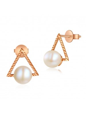 18K/750 Rose Gold Butterfly Stud Pearl Earrings 6.5 mm