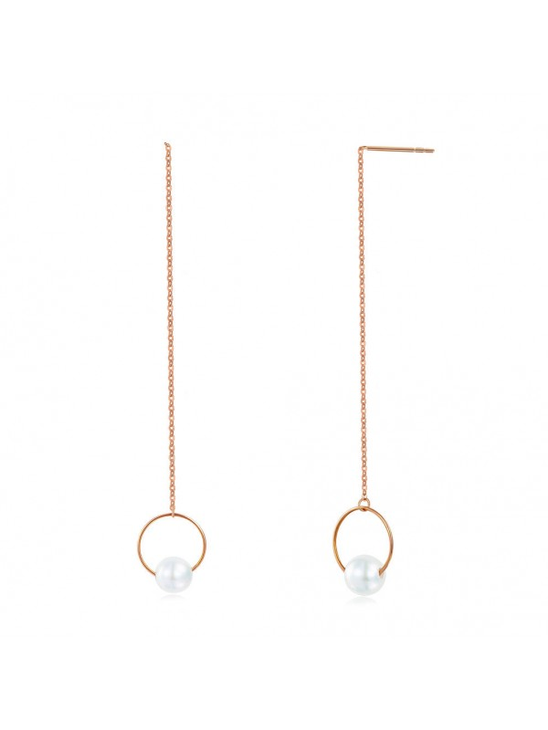 18K/750 Rose Gold Long Line Earrings Pearl 6 mm