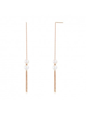 18K/750 Rose Gold Drop Dangle Double Pearls Earrings