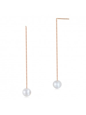 18K/750 Rose Gold Drop Dangle Long Line Pearls Earrings