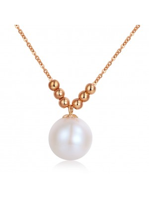 18K/ 750 Rose Gold Dangle Pearls Necklace