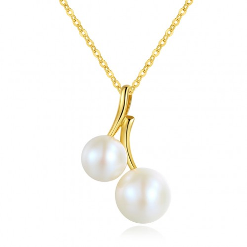 18K/ 750 Yellow Gold Double Pearls Pendant Necklace