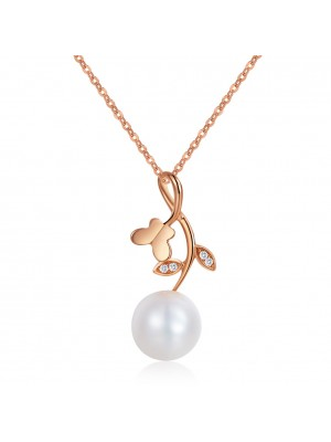 14K/ 585 Rose Gold Pearls Flower Pendant Necklace