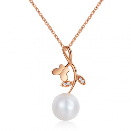 18K/ 750 Rose Gold Pearls Flower Pendant Necklace